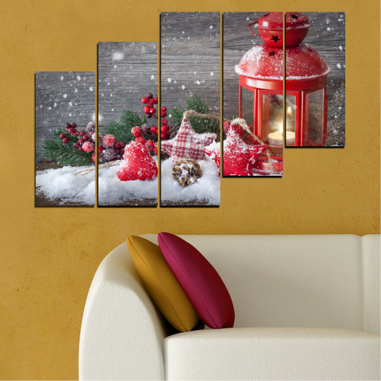 Canvas prints & wall decorative panels - 5 pieces №0432 » Red, Brown, Gray, Dark grey » Decoration, Christmas, Holiday Form #8