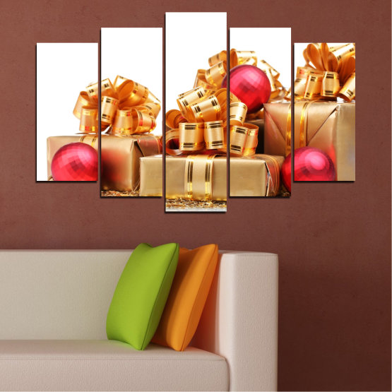 Canvas prints & wall decorative panels - 5 pieces №0433 » Red, Orange, Brown, White, Beige » Decoration, Christmas, Gift, Holiday Form #1