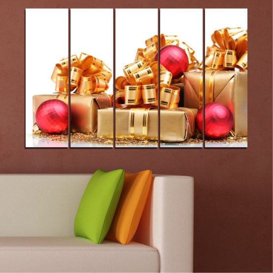 Canvas prints & wall decorative panels - 5 pieces №0433 » Red, Orange, Brown, White, Beige » Decoration, Christmas, Gift, Holiday Form #2