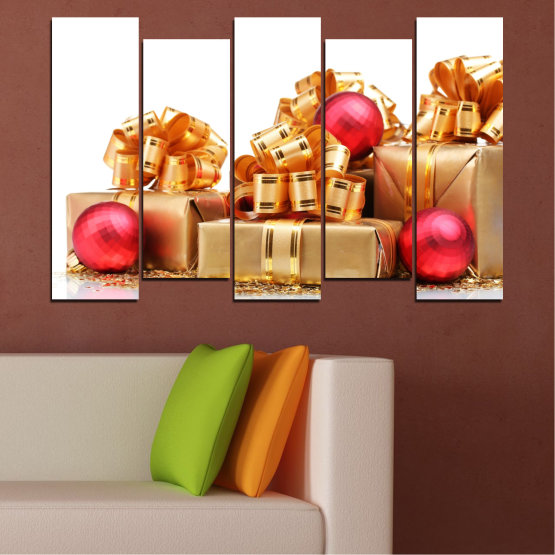 Canvas prints & wall decorative panels - 5 pieces №0433 » Red, Orange, Brown, White, Beige » Decoration, Christmas, Gift, Holiday Form #3