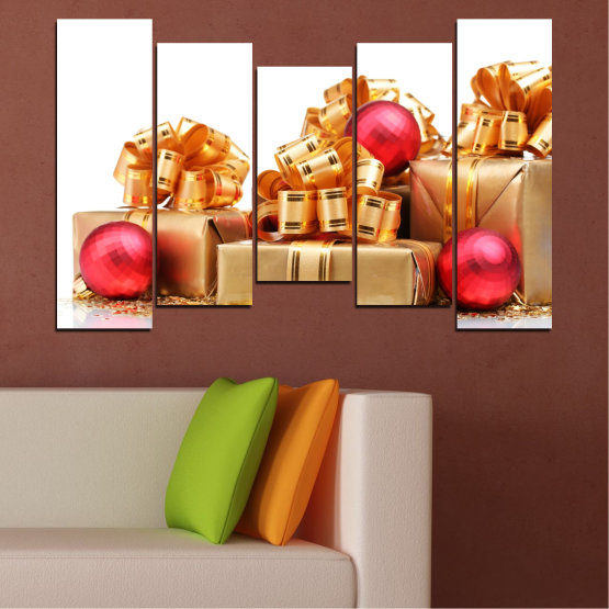 Canvas prints & wall decorative panels - 5 pieces №0433 » Red, Orange, Brown, White, Beige » Decoration, Christmas, Gift, Holiday Form #4
