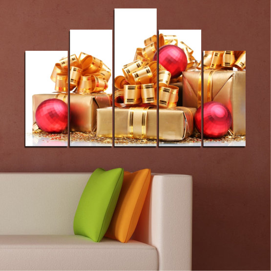 Canvas prints & wall decorative panels - 5 pieces №0433 » Red, Orange, Brown, White, Beige » Decoration, Christmas, Gift, Holiday Form #5