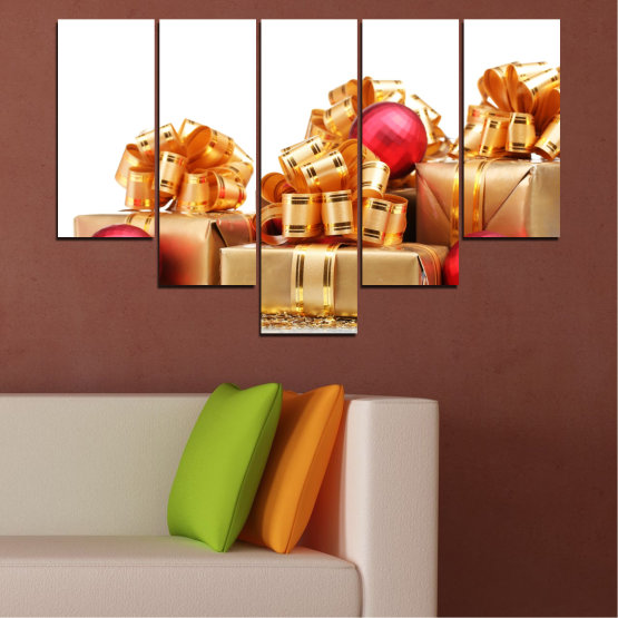 Canvas prints & wall decorative panels - 5 pieces №0433 » Red, Orange, Brown, White, Beige » Decoration, Christmas, Gift, Holiday Form #6