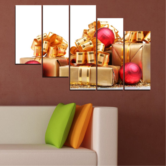 Canvas prints & wall decorative panels - 5 pieces №0433 » Red, Orange, Brown, White, Beige » Decoration, Christmas, Gift, Holiday Form #7