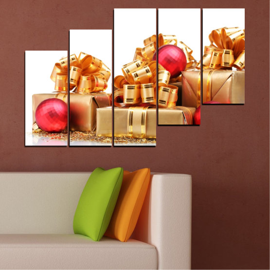 Canvas prints & wall decorative panels - 5 pieces №0433 » Red, Orange, Brown, White, Beige » Decoration, Christmas, Gift, Holiday Form #8