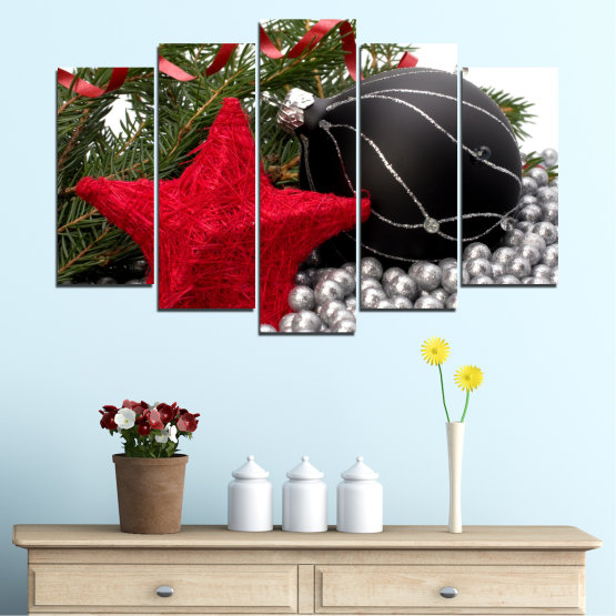 Canvas prints & wall decorative panels - 5 pieces №0434 » Red, Black, Gray, White, Dark grey » Decoration, Christmas, Holiday Form #1