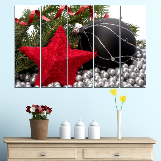 Canvas prints & wall decorative panels - 5 pieces №0434 » Red, Black, Gray, White, Dark grey » Decoration, Christmas, Holiday Form #2