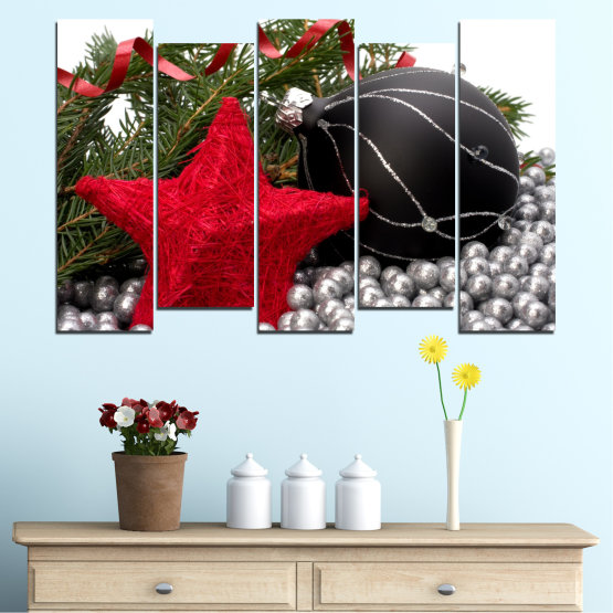 Canvas prints & wall decorative panels - 5 pieces №0434 » Red, Black, Gray, White, Dark grey » Decoration, Christmas, Holiday Form #3
