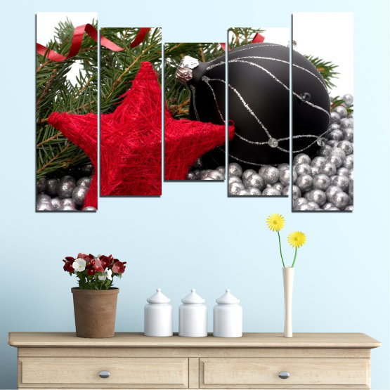 Canvas prints & wall decorative panels - 5 pieces №0434 » Red, Black, Gray, White, Dark grey » Decoration, Christmas, Holiday Form #4
