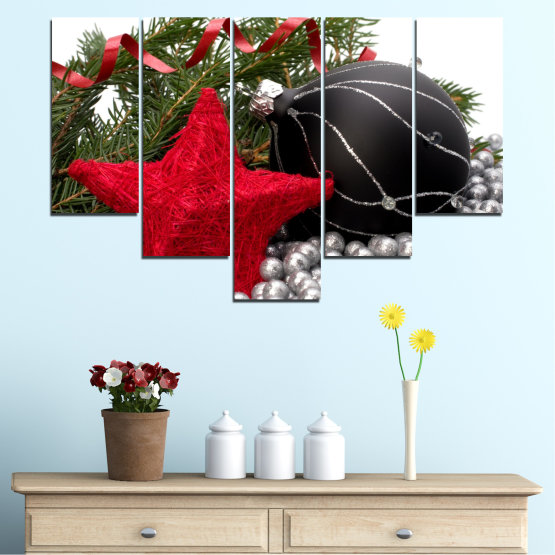 Canvas prints & wall decorative panels - 5 pieces №0434 » Red, Black, Gray, White, Dark grey » Decoration, Christmas, Holiday Form #6