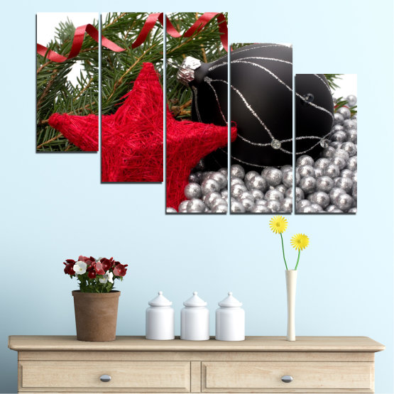 Canvas prints & wall decorative panels - 5 pieces №0434 » Red, Black, Gray, White, Dark grey » Decoration, Christmas, Holiday Form #7