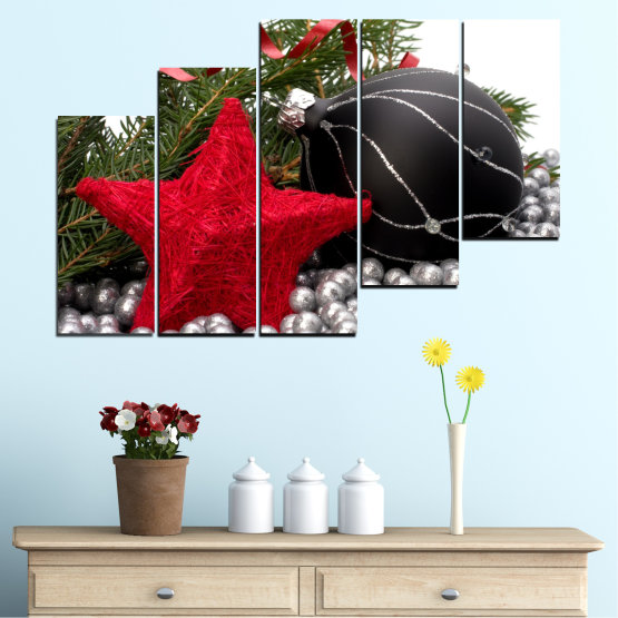Canvas prints & wall decorative panels - 5 pieces №0434 » Red, Black, Gray, White, Dark grey » Decoration, Christmas, Holiday Form #8