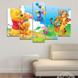 Children, Animated, Pooh bear » Green, Yellow, Gray, White
