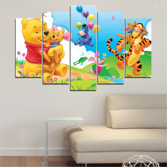 Canvas prints & wall decorative panels - 5 pieces №0435 » Green, Yellow, Gray, White » Children, Animated, Pooh bear Form #1