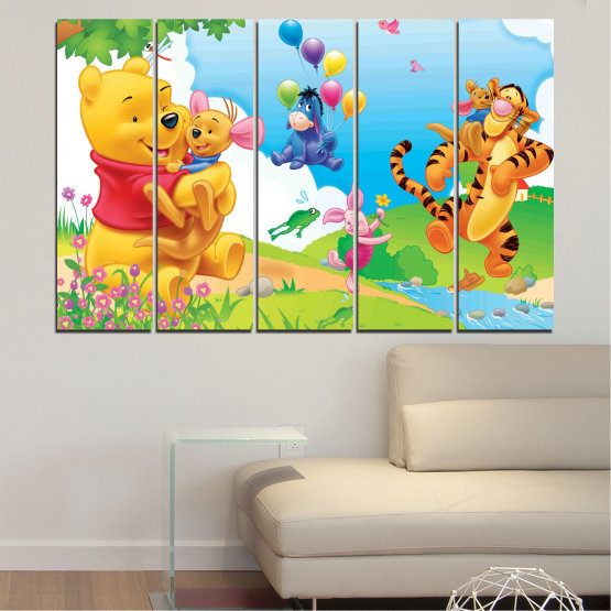 Canvas prints & wall decorative panels - 5 pieces №0435 » Green, Yellow, Gray, White » Children, Animated, Pooh bear Form #2