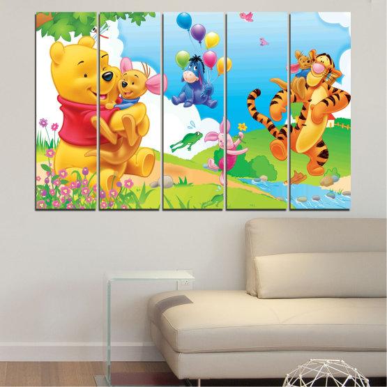 Декоративни панели и картини от канава - от 5 части №0435 » Зелен, Жълт, Сив, Бял » Детски, Анимационен, Мечо пух Form #2