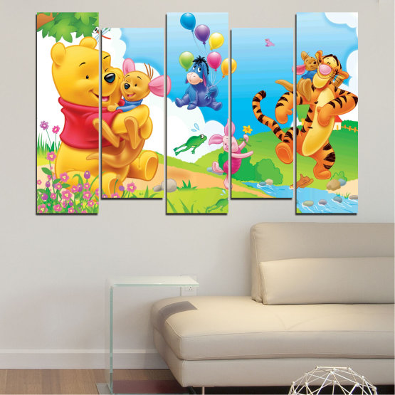 Canvas prints & wall decorative panels - 5 pieces №0435 » Green, Yellow, Gray, White » Children, Animated, Pooh bear Form #3
