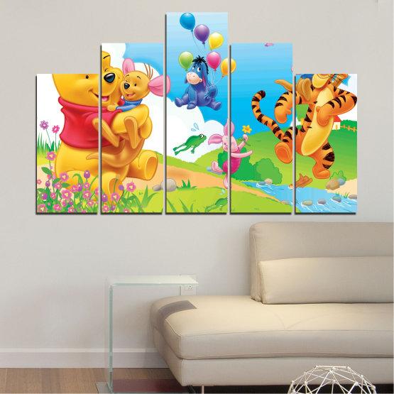 Декоративни панели и картини от канава - от 5 части №0435 » Зелен, Жълт, Сив, Бял » Детски, Анимационен, Мечо пух Form #5