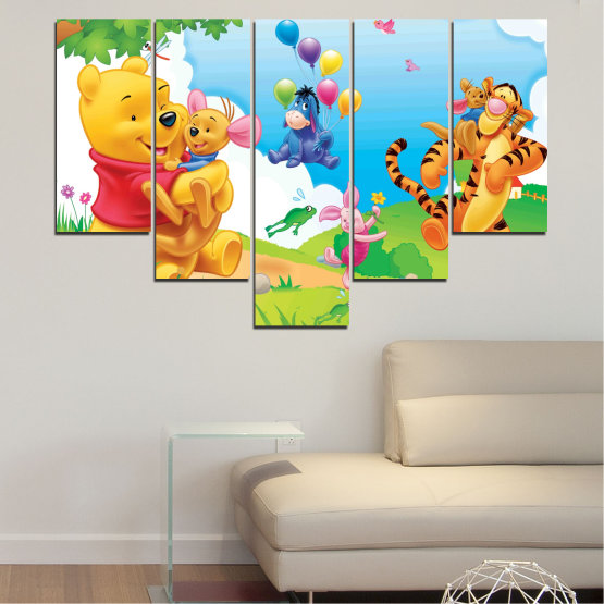 Canvas prints & wall decorative panels - 5 pieces №0435 » Green, Yellow, Gray, White » Children, Animated, Pooh bear Form #6