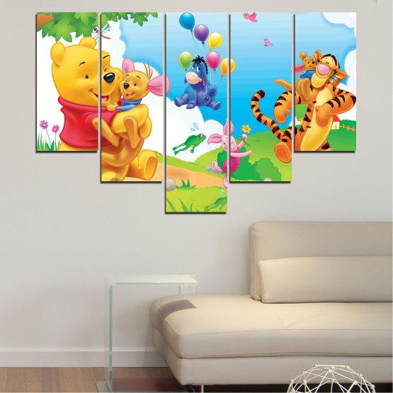 Декоративни панели и картини от канава - от 5 части №0435 » Зелен, Жълт, Сив, Бял » Детски, Анимационен, Мечо пух Form #6