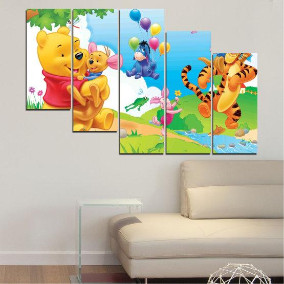 Декоративни панели и картини от канава - от 5 части №0435 » Зелен, Жълт, Сив, Бял » Детски, Анимационен, Мечо пух Form #7