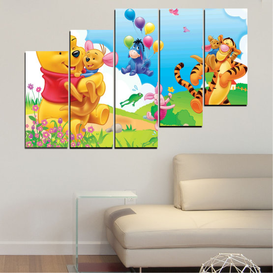 Декоративни панели и картини от канава - от 5 части №0435 » Зелен, Жълт, Сив, Бял » Детски, Анимационен, Мечо пух Form #8