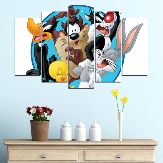 Canvas prints & wall decorative panels - 5 pieces №0437 » Turquoise, Black, Gray, White, Dark grey » Children, Drawing, Animated Form #1