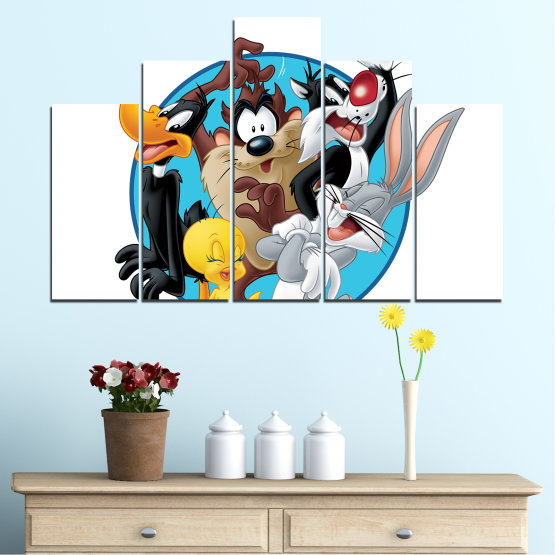 Canvas prints & wall decorative panels - 5 pieces №0437 » Turquoise, Black, Gray, White, Dark grey » Children, Drawing, Animated Form #5