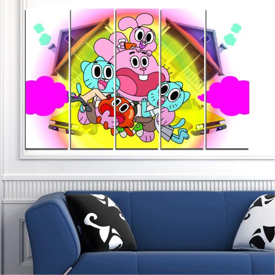 Декоративни панели и картини от канава - от 5 части №0438 » Розов, Зелен, Жълт, Бял, Млечно розов » Детски, Анимационен, Гъмбол Form #2