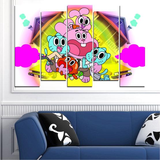 Декоративни панели и картини от канава - от 5 части №0438 » Розов, Зелен, Жълт, Бял, Млечно розов » Детски, Анимационен, Гъмбол Form #3