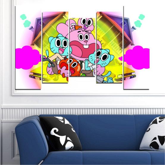 Декоративни панели и картини от канава - от 5 части №0438 » Розов, Зелен, Жълт, Бял, Млечно розов » Детски, Анимационен, Гъмбол Form #4