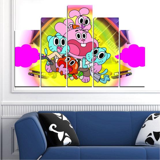 Декоративни панели и картини от канава - от 5 части №0438 » Розов, Зелен, Жълт, Бял, Млечно розов » Детски, Анимационен, Гъмбол Form #5