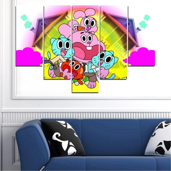 Декоративни панели и картини от канава - от 5 части №0438 » Розов, Зелен, Жълт, Бял, Млечно розов » Детски, Анимационен, Гъмбол Form #6