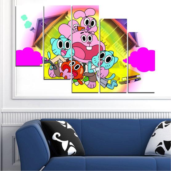 Декоративни панели и картини от канава - от 5 части №0438 » Розов, Зелен, Жълт, Бял, Млечно розов » Детски, Анимационен, Гъмбол Form #7