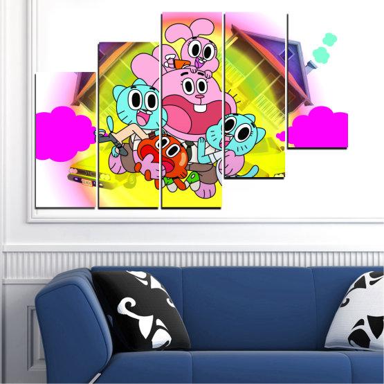 Декоративни панели и картини от канава - от 5 части №0438 » Розов, Зелен, Жълт, Бял, Млечно розов » Детски, Анимационен, Гъмбол Form #8