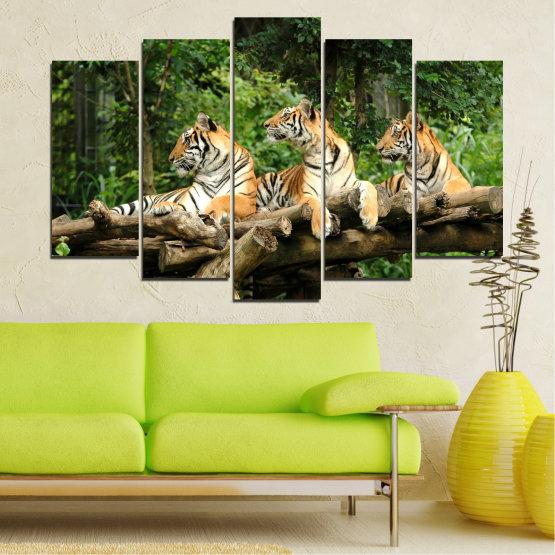 Декоративни панели и картини от канава - от 5 части №0044 » Зелен, Кафяв, Черен, Сив, Тъмно сив » Животни, Дърво, Тигър Form #1