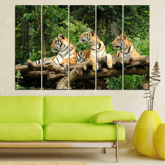 Canvas prints & wall decorative panels - 5 pieces №0044 » Green, Brown, Black, Gray, Dark grey » Animal, Tree, Tiger Form #2
