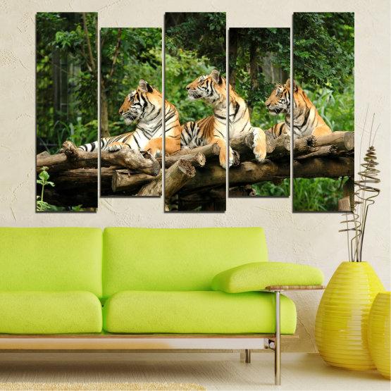 Декоративни панели и картини от канава - от 5 части №0044 » Зелен, Кафяв, Черен, Сив, Тъмно сив » Животни, Дърво, Тигър Form #3