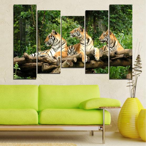 Декоративни панели и картини от канава - от 5 части №0044 » Зелен, Кафяв, Черен, Сив, Тъмно сив » Животни, Дърво, Тигър Form #4
