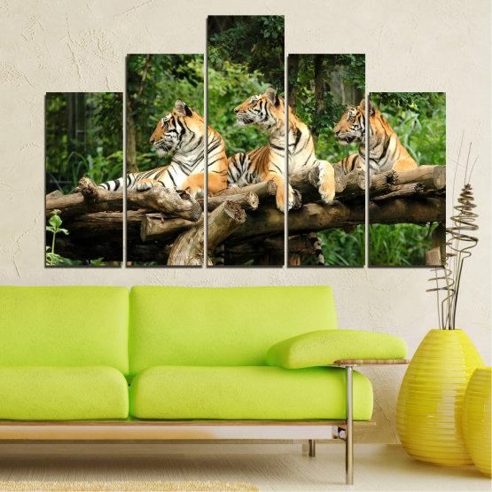 Canvas prints & wall decorative panels - 5 pieces №0044 » Green, Brown, Black, Gray, Dark grey » Animal, Tree, Tiger Form #5