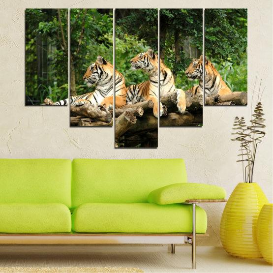 Декоративни панели и картини от канава - от 5 части №0044 » Зелен, Кафяв, Черен, Сив, Тъмно сив » Животни, Дърво, Тигър Form #6