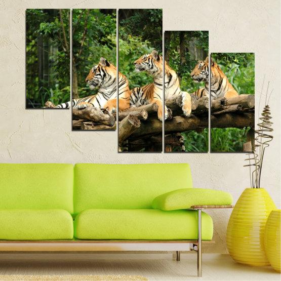 Canvas prints & wall decorative panels - 5 pieces №0044 » Green, Brown, Black, Gray, Dark grey » Animal, Tree, Tiger Form #7