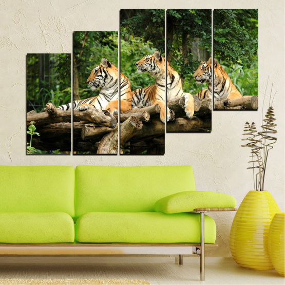 Декоративни панели и картини от канава - от 5 части №0044 » Зелен, Кафяв, Черен, Сив, Тъмно сив » Животни, Дърво, Тигър Form #8
