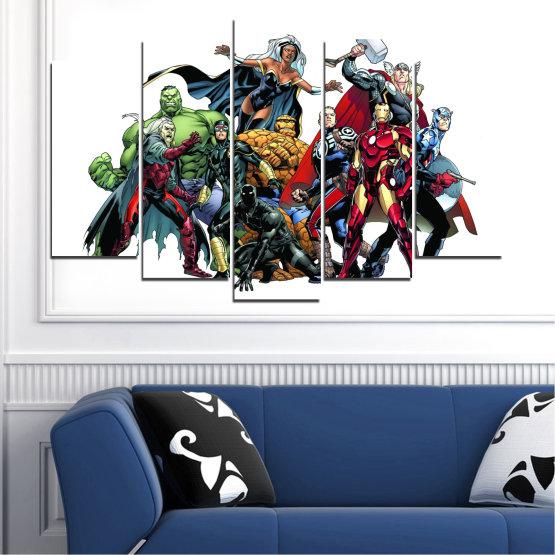 Декоративни панели и картини от канава - от 5 части №0440 » Червен, Черен, Сив, Бял, Тъмно сив » Детски, Марвел, Отмъстители, Комикс Form #1