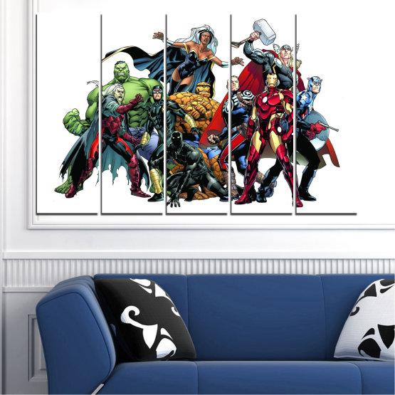 Декоративни панели и картини от канава - от 5 части №0440 » Червен, Черен, Сив, Бял, Тъмно сив » Детски, Марвел, Отмъстители, Комикс Form #2