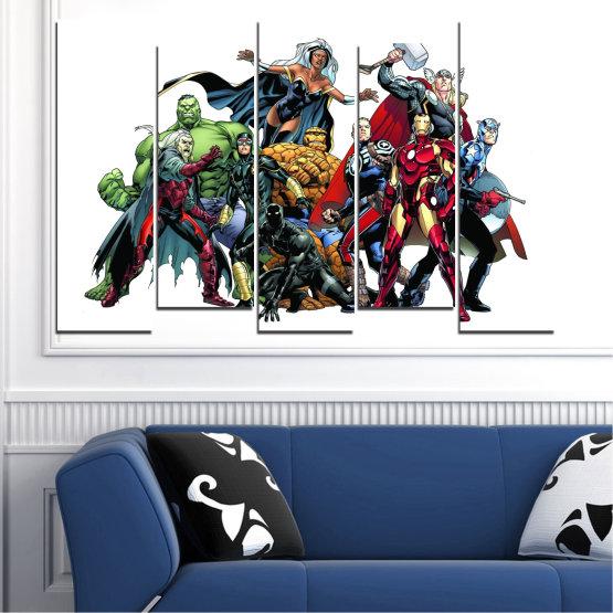 Декоративни панели и картини от канава - от 5 части №0440 » Червен, Черен, Сив, Бял, Тъмно сив » Детски, Марвел, Отмъстители, Комикс Form #3