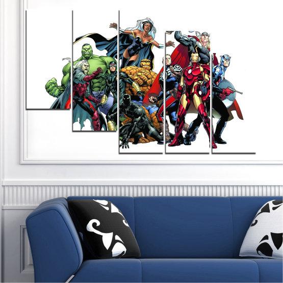 Декоративни панели и картини от канава - от 5 части №0440 » Червен, Черен, Сив, Бял, Тъмно сив » Детски, Марвел, Отмъстители, Комикс Form #7