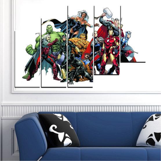Декоративни панели и картини от канава - от 5 части №0440 » Червен, Черен, Сив, Бял, Тъмно сив » Детски, Марвел, Отмъстители, Комикс Form #8
