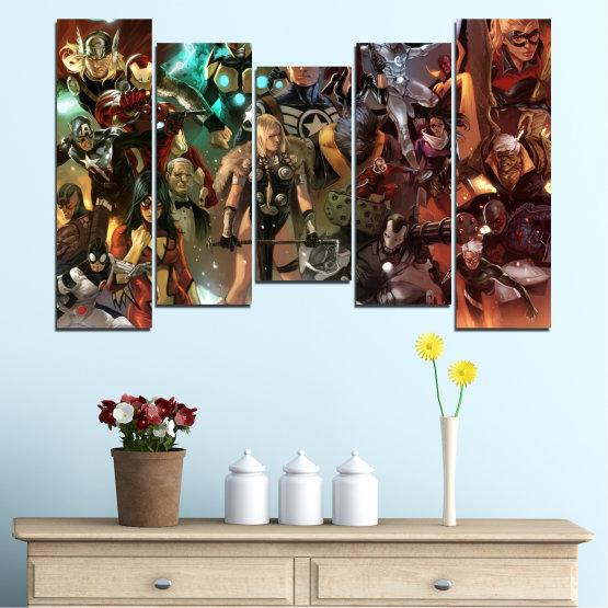 Декоративни панели и картини от канава - от 5 части №0441 » Кафяв, Черен, Сив, Тъмно сив » Детски, Анимационен, Отмъстители, Комикс Form #4