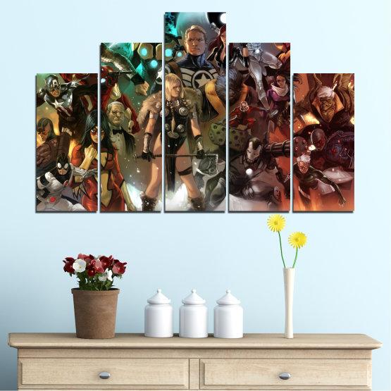 Декоративни панели и картини от канава - от 5 части №0441 » Кафяв, Черен, Сив, Тъмно сив » Детски, Анимационен, Отмъстители, Комикс Form #5